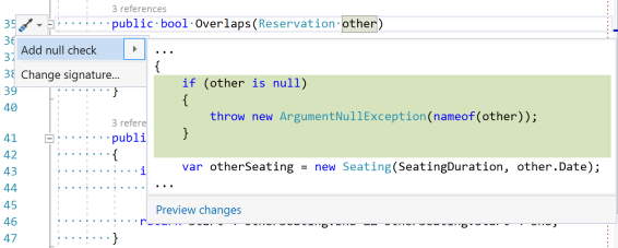 Screen shot of the 'Add null check' Quick Action. By default it'll add brackets around the throw statement.