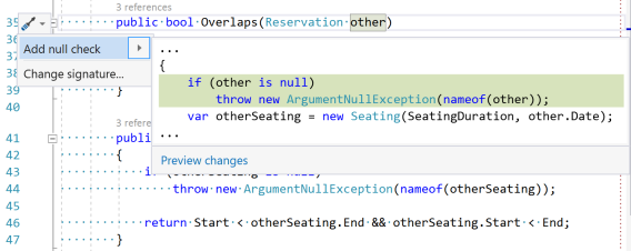 Screen shot of the 'Add null check' Quick Action after the behaviour change. It no longer adds brackets around the throw statement.