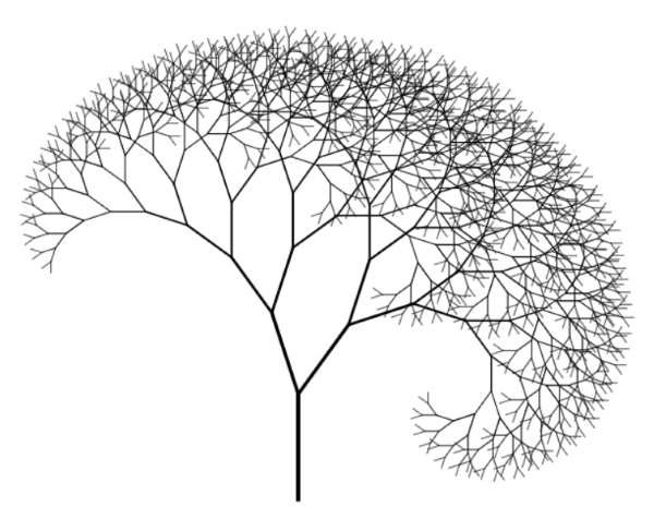An asymmetric fractal tree.