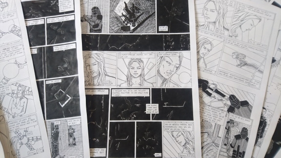 Spread of original pages of my graphic novel.