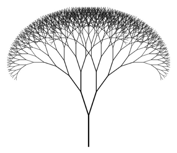 Line Drawing Javascript : Fractal trees with purescript