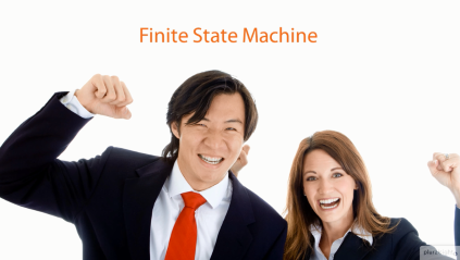 Course screenshot, man and woman cheering over Finite State Machine