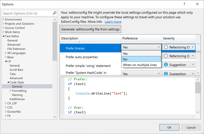 Screen shot of Visual Studio Options dialog box.